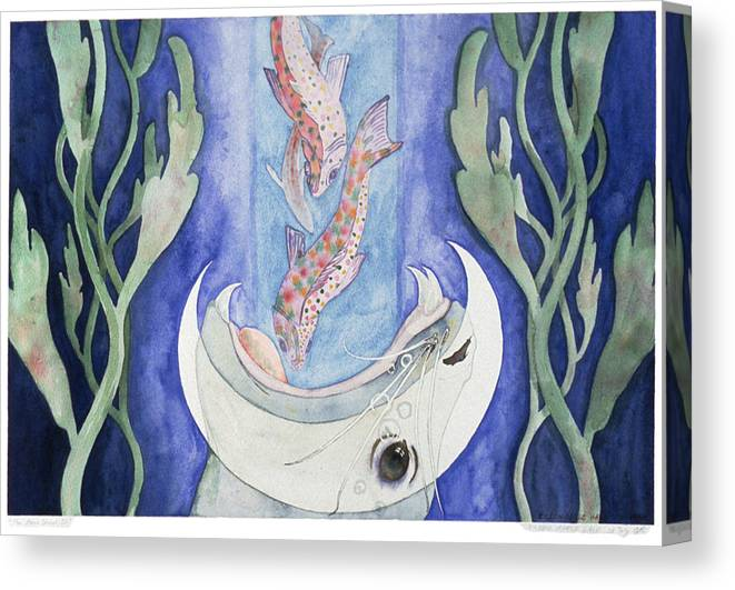 Surreal Canvas Print featuring the painting The Moon Draws In by Eileen Hale