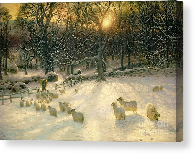 Winter Canvas Print featuring the painting The Shortening Winters Day is Near a Close by Joseph Farquharson