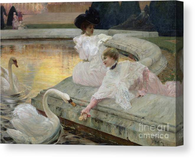 The Swans Canvas Print featuring the painting The Swans by Joseph Marius Avy