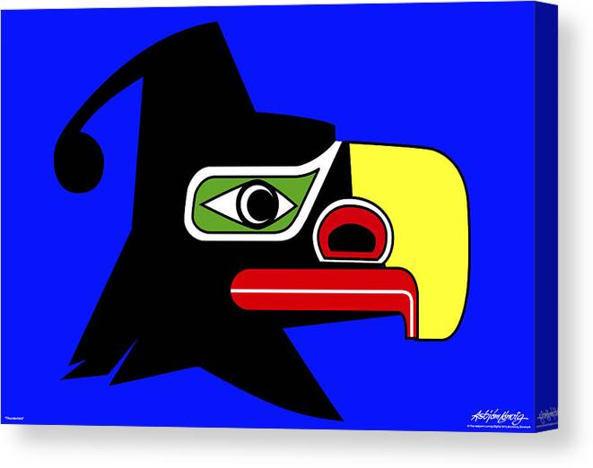 Thunderbird Canvas Print featuring the painting Thunderbird by Asbjorn Lonvig