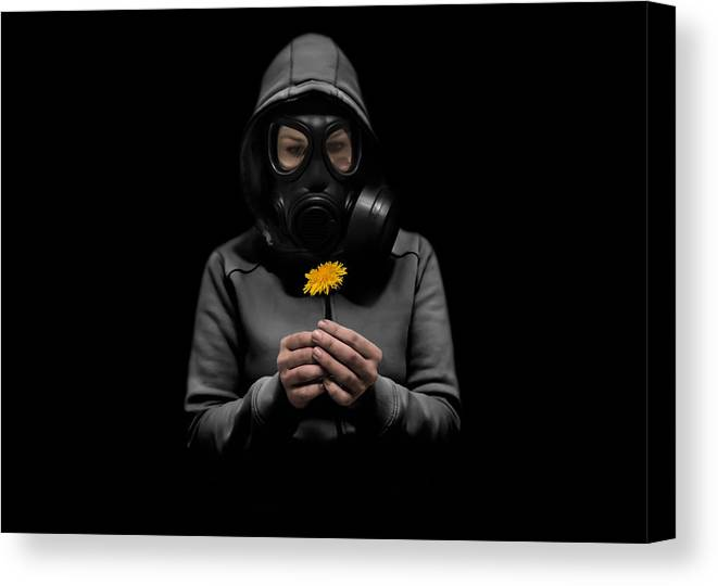 Gasmask Canvas Print featuring the photograph Toxic Hope by Nicklas Gustafsson