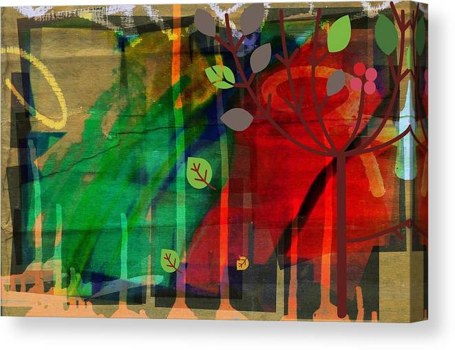 Abstract Color Canvas Print featuring the digital art Tree and a skewed rainbow by Joseph Ferguson