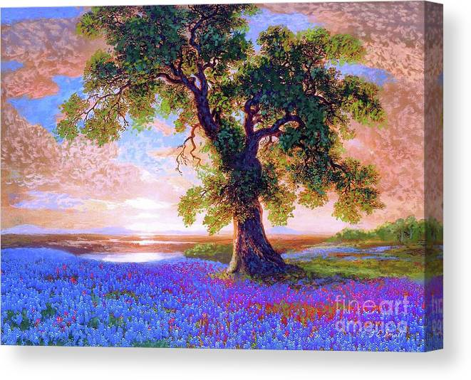 Landscape Canvas Print featuring the painting Bluebonnets by Jane Small