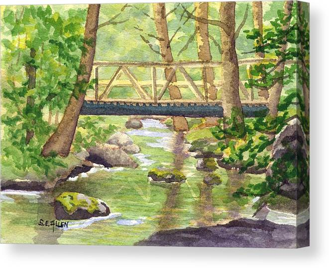 Stream Canvas Print featuring the painting Tuckers Brook by Sharon E Allen