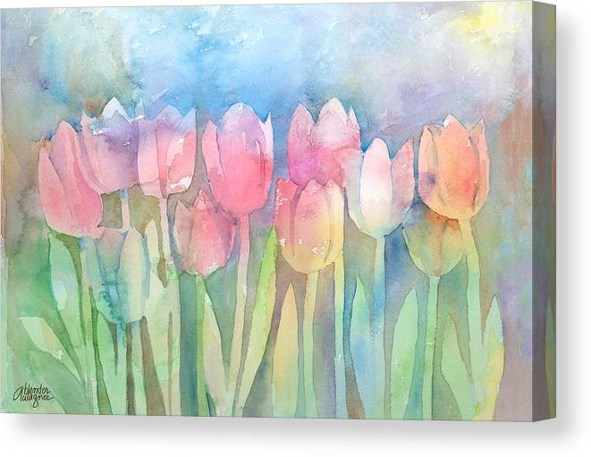 Tulip Canvas Print featuring the painting Tulips In A Row by Arline Wagner