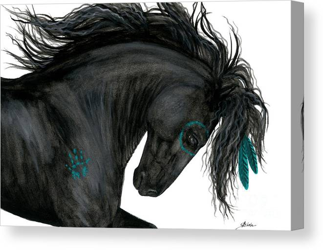 Horse Canvas Print featuring the painting Turquoise Dreamer Horse by AmyLyn Bihrle