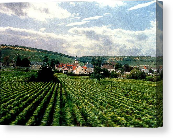 Vineyards Canvas Print featuring the photograph Village In The Vineyards of France by Nancy Mueller