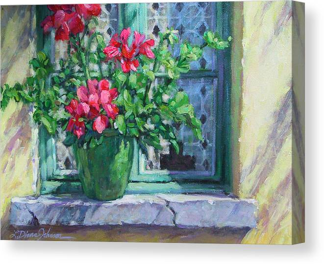 Red Geranium Canvas Print featuring the painting Village Welcome Giverny France by L Diane Johnson