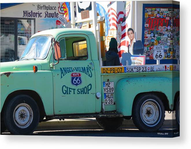 Gift Shop Canvas Print featuring the photograph Vintage Truck with Elvis on Historic Route 66 by Victoria Oldham