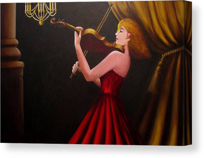 Oil Canvas Print featuring the painting Violinist by Anh T Chau