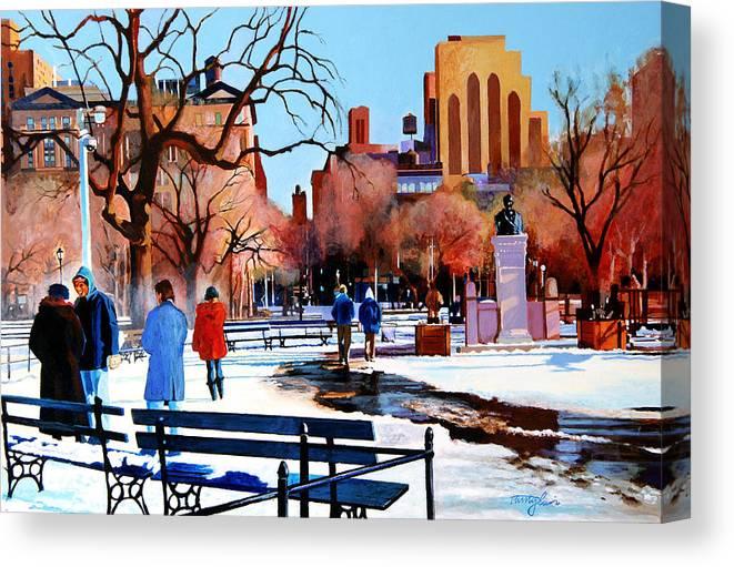 Washington Square Canvas Print featuring the painting Washington Square by John Tartaglione