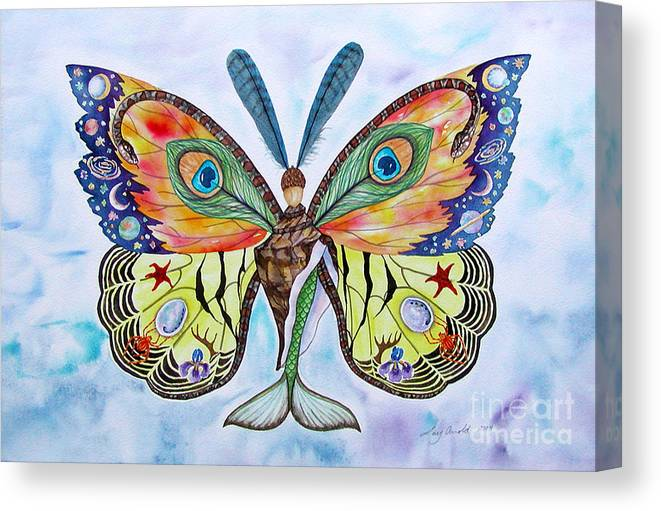 Butterfly Canvas Print featuring the painting Winged Metamorphosis by Lucy Arnold