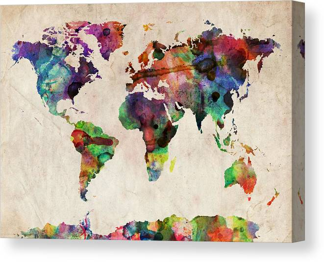Map Of The World Canvas Print featuring the digital art World Map Watercolor by Michael Tompsett