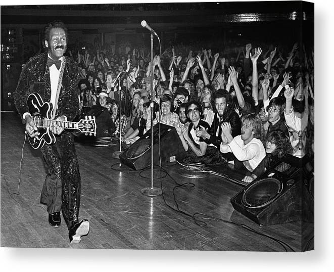 Rock Music Canvas Print featuring the photograph Chuck Berry In Concert At The Palladium by George Rose