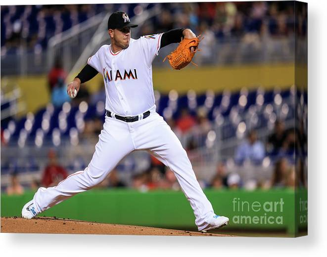 People Canvas Print featuring the photograph Cincinnati Reds V Miami Marlins by Rob Foldy