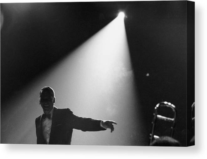 Singer Canvas Print featuring the photograph Frank Sinatra On Stage by John Dominis