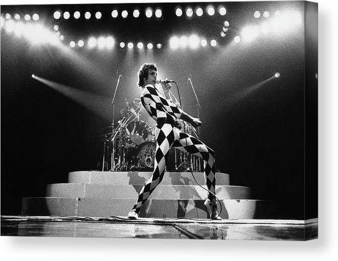 Freddie Mercury Canvas Print featuring the photograph Freddie Mercury Of Queen by George Rose