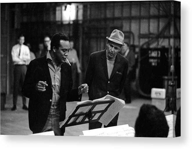 Working Canvas Print featuring the photograph Jones & Sinatra In Studio by John Dominis