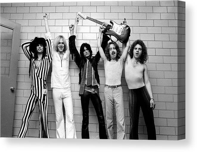 Tom Hamilton Canvas Print featuring the photograph Photo Of Aerosmith And Tom Hamilton And by Fin Costello