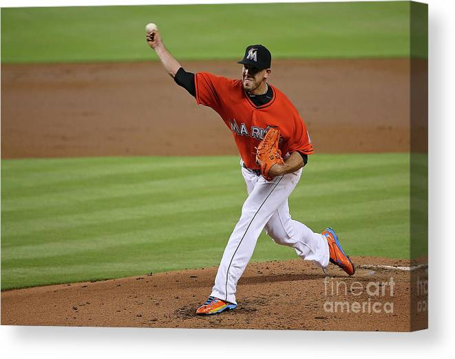 People Canvas Print featuring the photograph San Francisco Giants V Miami Marlins by Mike Ehrmann