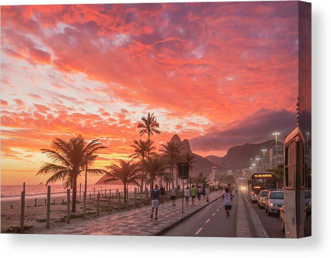 Majestic Canvas Print featuring the photograph Sunset Over Ipanema Beach by Buena Vista Images