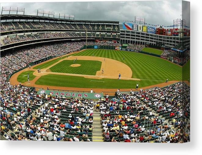 American League Baseball Canvas Print featuring the photograph Tigers V Rangers by Ronald Martinez