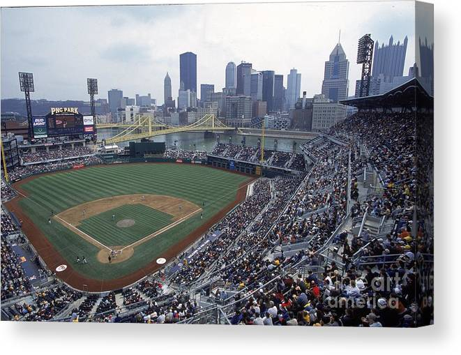 Pnc Park Canvas Print featuring the photograph View Of Stadium by Jamie Squire
