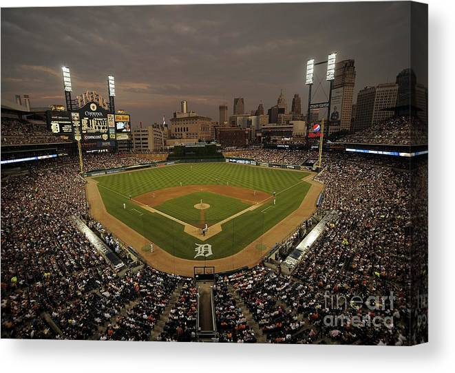 American League Baseball Canvas Print featuring the photograph Cleveland Indians V Detroit Tigers by Mark Cunningham