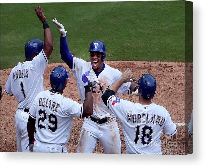 Adrian Beltre Canvas Print featuring the photograph Seattle Mariners V Texas Rangers by Tom Pennington