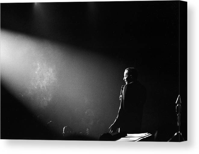 Timeincown Canvas Print featuring the photograph Entertainer Frank Sinatra Performing On by John Dominis