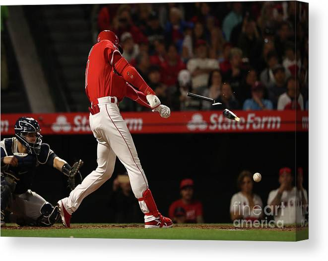 People Canvas Print featuring the photograph New York Yankees V Los Angeles Angels by Victor Decolongon