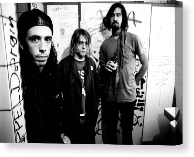 Music Canvas Print featuring the photograph Photo Of Krist Novoselic And Kurt by Paul Bergen