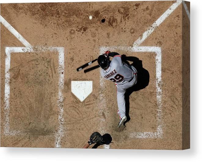 Héctor Sánchez Canvas Print featuring the photograph San Francisco Giants V Arizona by Christian Petersen