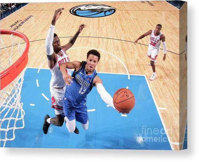 Nba Pro Basketball Canvas Print featuring the photograph Chicago Bulls V Dallas Mavericks by Glenn James