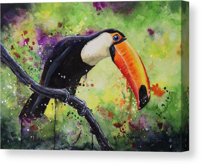 Bird Canvas Print featuring the painting Tropical by Kirsty Rebecca