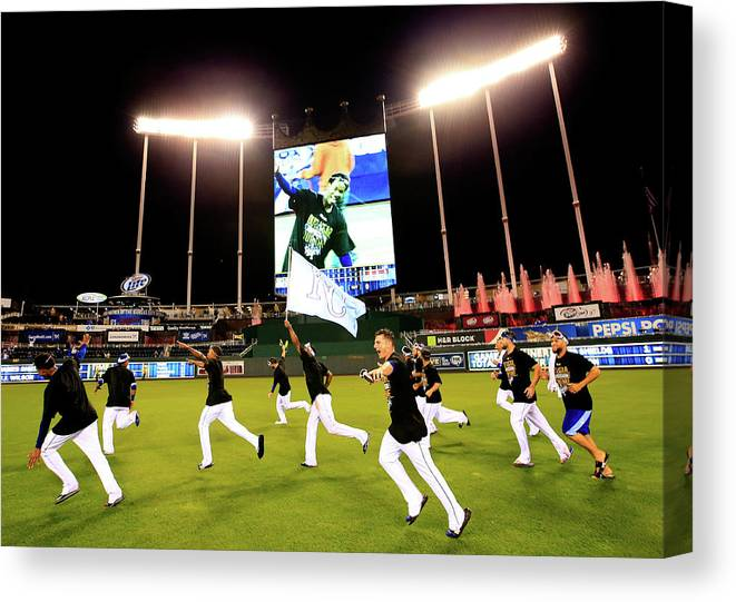 American League Baseball Canvas Print featuring the photograph Division Series - Los Angeles Angels Of by Jamie Squire