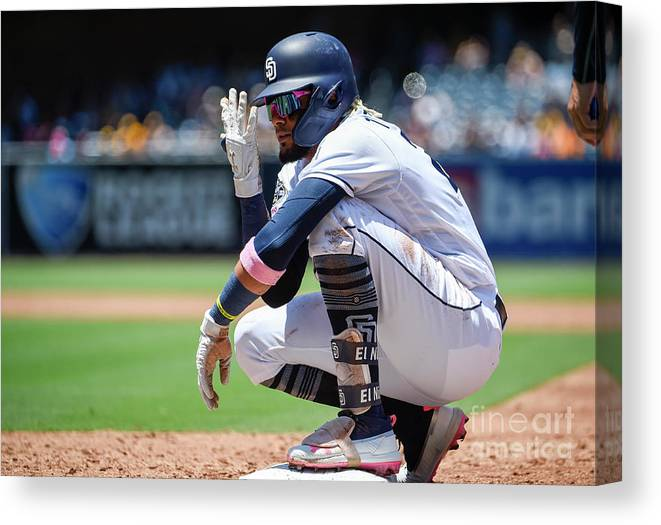 People Canvas Print featuring the photograph Milwaukee Brewers V San Diego Padres by Denis Poroy