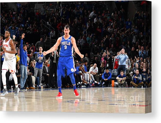 Description Canvas Print featuring the photograph Philadelphia 76ers V New York Knicks by Jesse D. Garrabrant