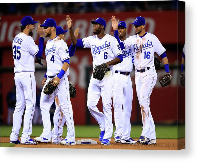 American League Baseball Canvas Print featuring the photograph Minnesota Twins V Kansas City Royals by Jamie Squire