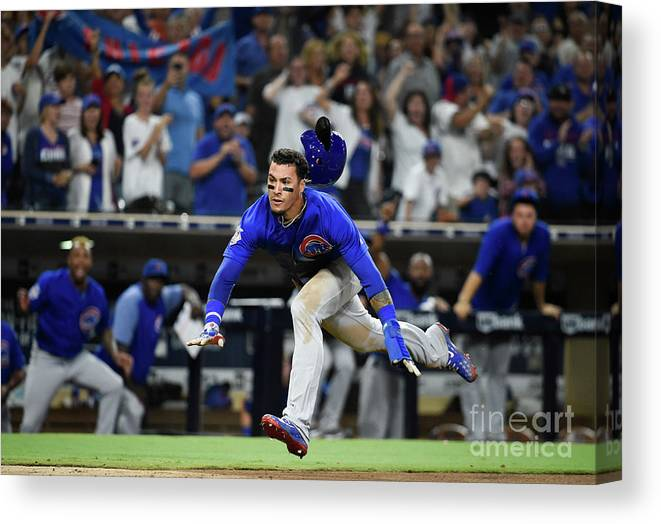 People Canvas Print featuring the photograph Chicago Cubs V San Diego Padres by Denis Poroy