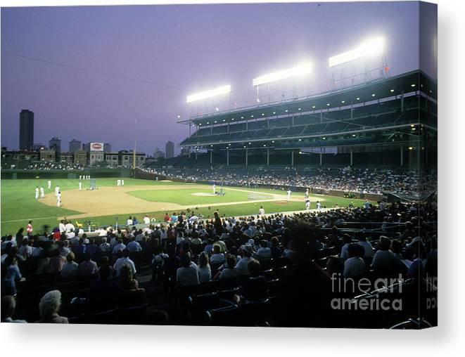 1980-1989 Canvas Print featuring the photograph Philadelphia Phillies V Chicago Cubs by Jonathan Daniel