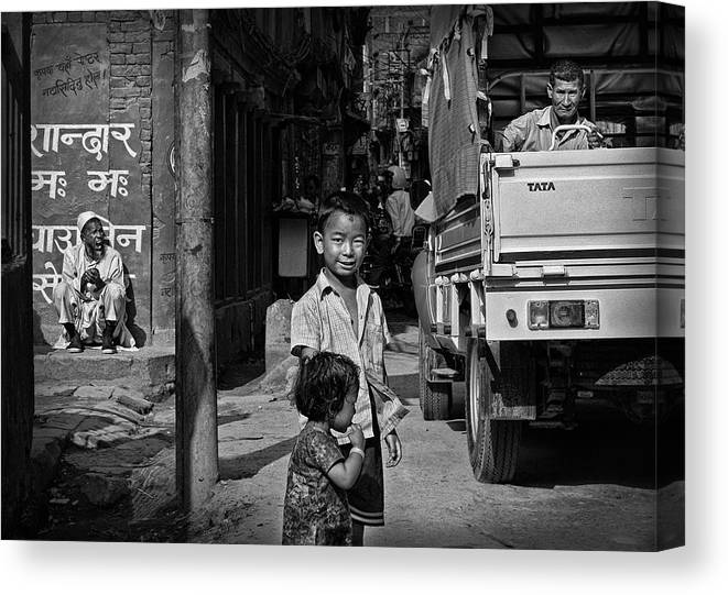 Kathmandu Canvas Print featuring the photograph A Kathmandu Scene by Eyal Bussiba