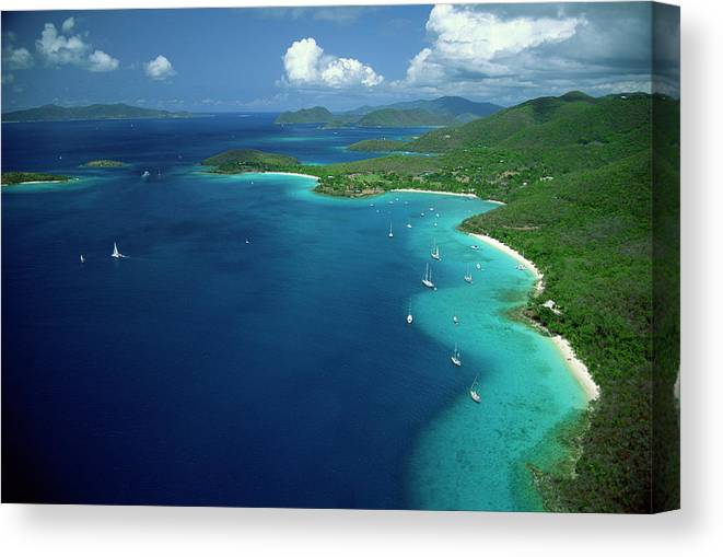 Sailboat Canvas Print featuring the photograph Aerial View Of Shoreline by Don Hebert