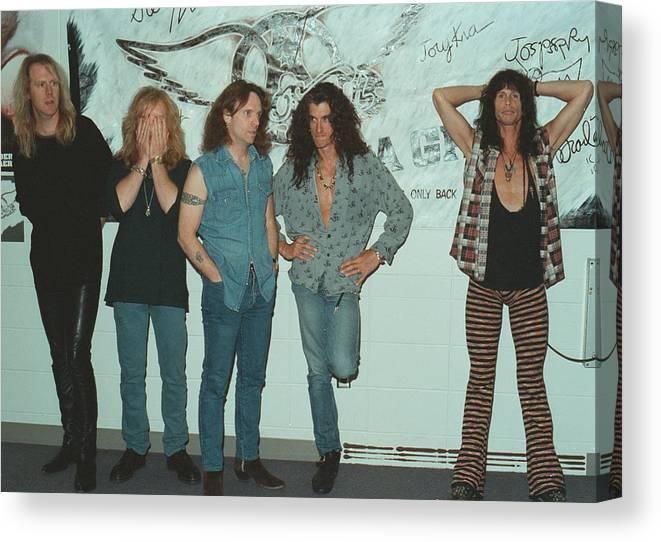 Tom Hamilton Canvas Print featuring the photograph Aerosmith Backstage Portrait by Jim Steinfeldt