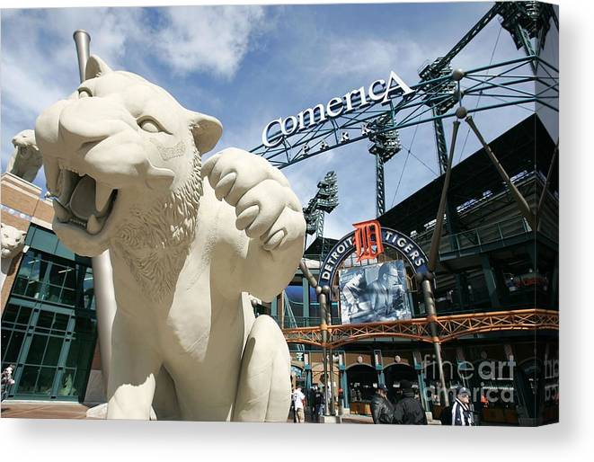 Playoffs Canvas Print featuring the photograph Alcs Game 4 Oakland As V Detroit Tigers by Jonathan Daniel