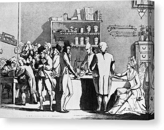 Etching Canvas Print featuring the photograph Apothecary Shop With Doctors by Bettmann