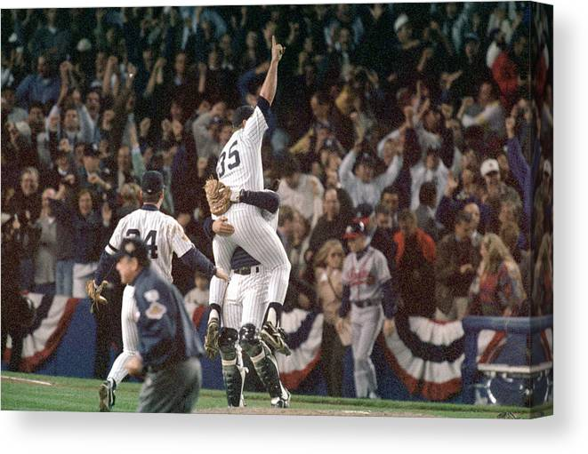 Celebration Canvas Print featuring the photograph Atlanta Braves V New York Yankees by Al Bello