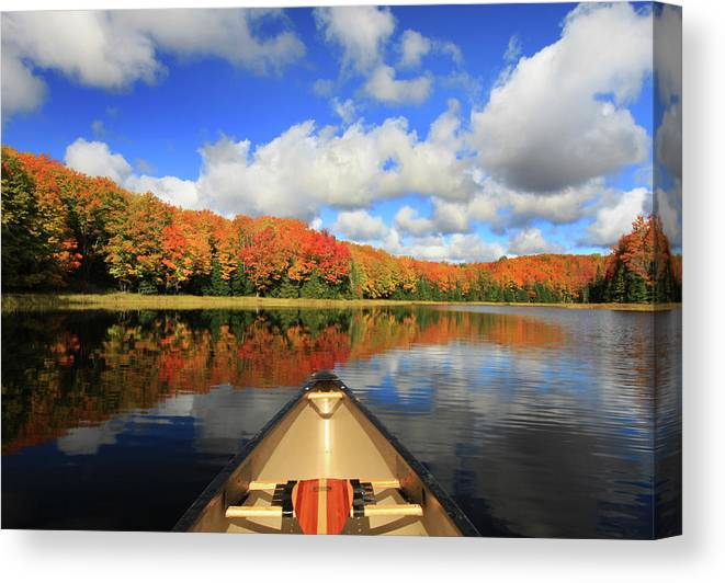Scenics Canvas Print featuring the photograph Autumn In A Canoe by Photos By Michael Crowley