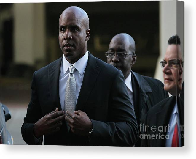 California Canvas Print featuring the photograph Barry Bonds Perjury Trial Begins In San by Justin Sullivan