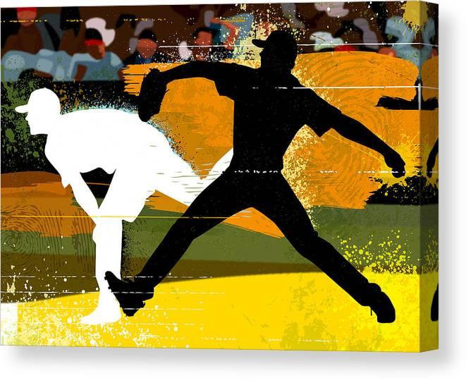 Baseball Cap Canvas Print featuring the digital art Baseball Pitcher Throwing Baseball by Greg Paprocki